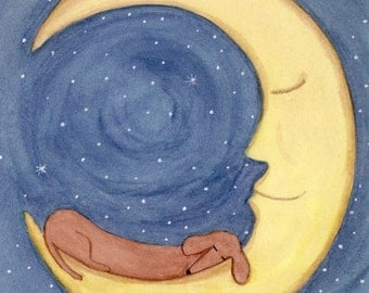 Brown shorthaired dachshund (doxie) sleeping on moon / Lynch signed folk art print Weiner/Wiener dog