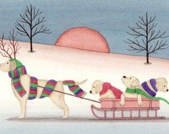 Golden lab ( labrador retriever) family on sled ride / Lynch signed folk art print