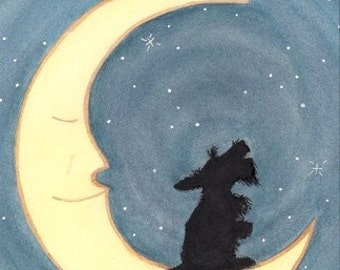Scottish terrier (scottie) sits howling on the moon / Lynch signed folk art print