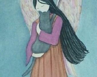 Grey cat cradled by angel / Lynch signed folk art print