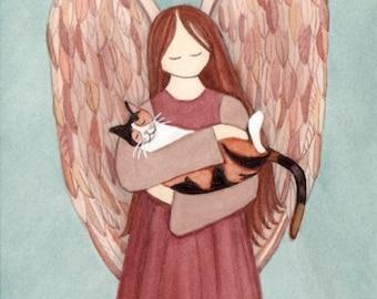 Calico cat cradled by angel / Lynch signed folk art print