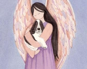 Angel with black and white English Springer Spaniel /  Lynch signed folk art print