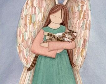 Tiger tabby cat  with angel / Lynch signed folk art print
