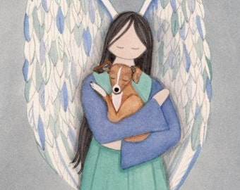 Brown and white Italian greyhound with angel / Lynch signed folk art print