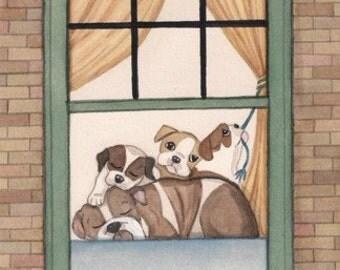 Passel of bulldogs fills window / Lynch signed folk art print