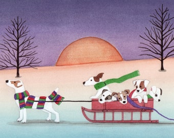 Jack Russell terrier (JRT) family taking a sled ride / Lynch signed folk art print