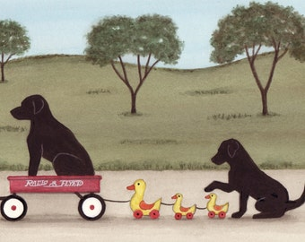 Black Lab /Labrador retriever family taking ride in wagon (with ducks) / Lynch signed folk art print