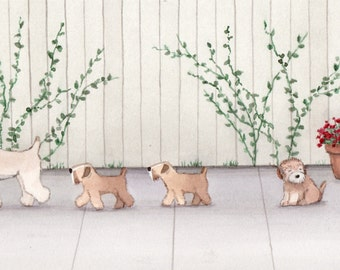 Littlest wheatie (wheaten terrier) distracted by a cat / Lynch signed folk art print