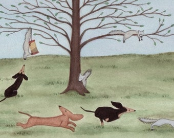 Dachshunds (doxies) chase a few squirrels / Lynch signed folk art print (weiner/wiener dog)