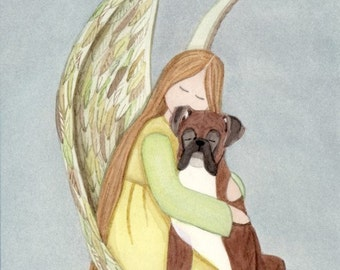 Boxer (uncropped ears) with angel / Lynch signed folk art print