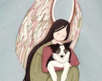Border collie with angel / Lynch signed folk art print