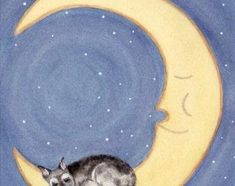 Miniature schnauzer sleeping on moon (cropped ears) / Lynch signed folk art print