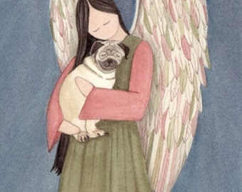 Pug dog cradled by angel / Lynch signed folk art print