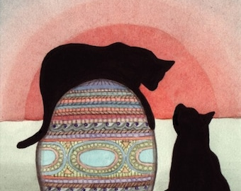 Black cats toying with Faberge (Easter) egg / Lynch signed folk art print