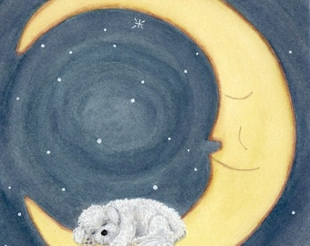 Bichon frise sleeping on the moon / Lynch signed folk art print