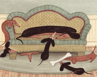 How many doxies (dachshunds) can fit on a sofa / Lynch signed folk art print
