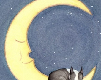 Boston terrier sleeping on the moon / Lynch signed folk art print