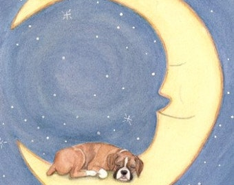Boxer sleeps on moon / Lynch signed folk art print
