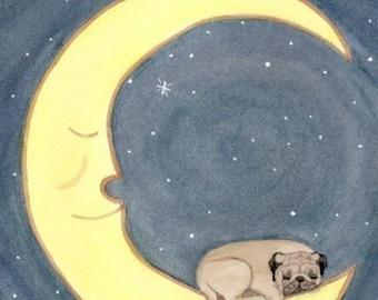 Pug dog sleeping on moon / Lynch signed folk art print
