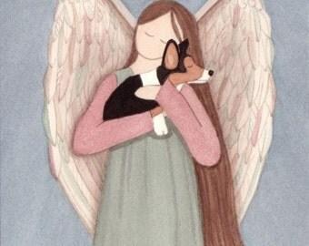 Tri-Color Pembroke Welsh Corgi with angel / Lynch signed folk art print