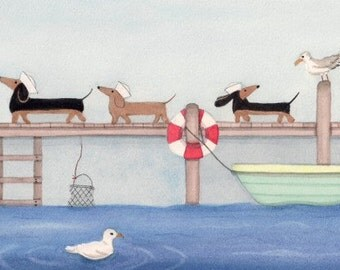 Water-loving dachshunds (doxies) find seagull friends / Lynch signed folk art print
