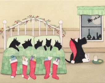 Christmas Cards: Scottish terrier (scottie) family keeping eye out for Santa on Christmas Eve / Lynch folk art