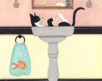 Tuxedo cat (tux cat) fills sink at bathtime / Lynch signed folk art print