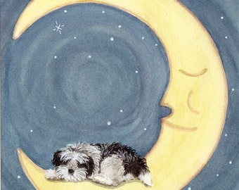 Shih-tzu (shihtzu) sleeping on the moon / Lynch signed folk art print