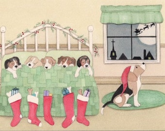 Beagle family all tucked in for Christmas Eve / Lynch signed folk art print