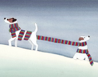 Jack Russell terriers (JRTs) wrapped up for winter / Lynch signed folk art print