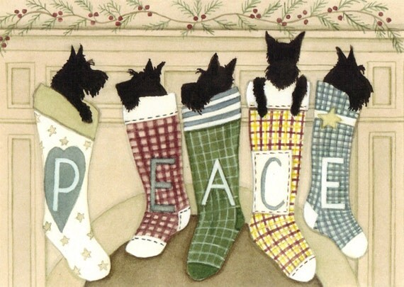 12 Christmas cards: Scottish terriers (scotties) hung by the chimney with care / Lynch folk art