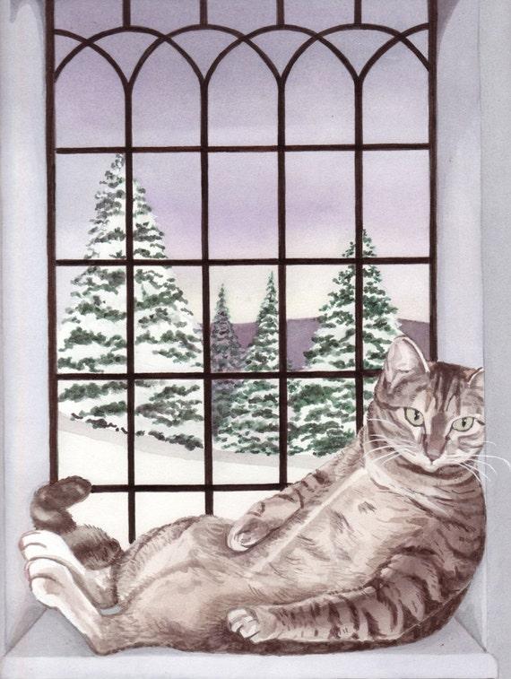 Baby, it's cold outside, but fat cat has warm window seat / Lynch signed folk art print