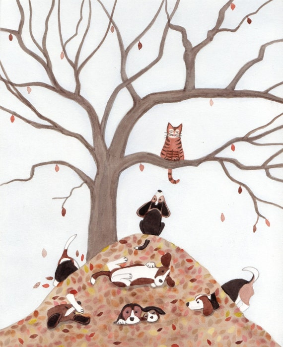 If only the leaf pile were a little taller, the beagle could reach the cat / Lynch signed folk art print