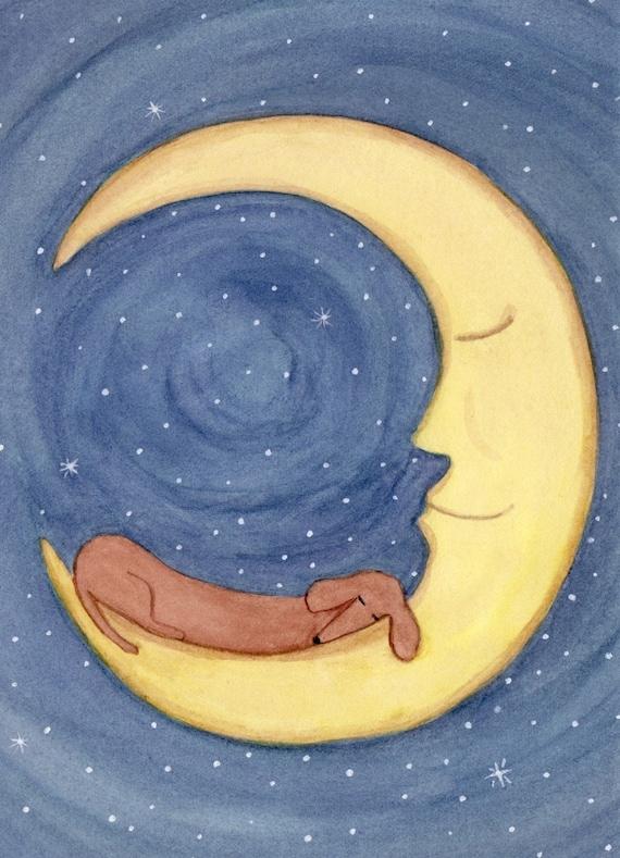 Brown shorthaired dachshund (doxie) sleeping on moon / Lynch signed folk art print Weiner/Wiener dog