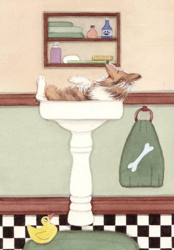 Sheltie (shetland sheepdog) fills sink at bathtime / Lynch signed folk art print