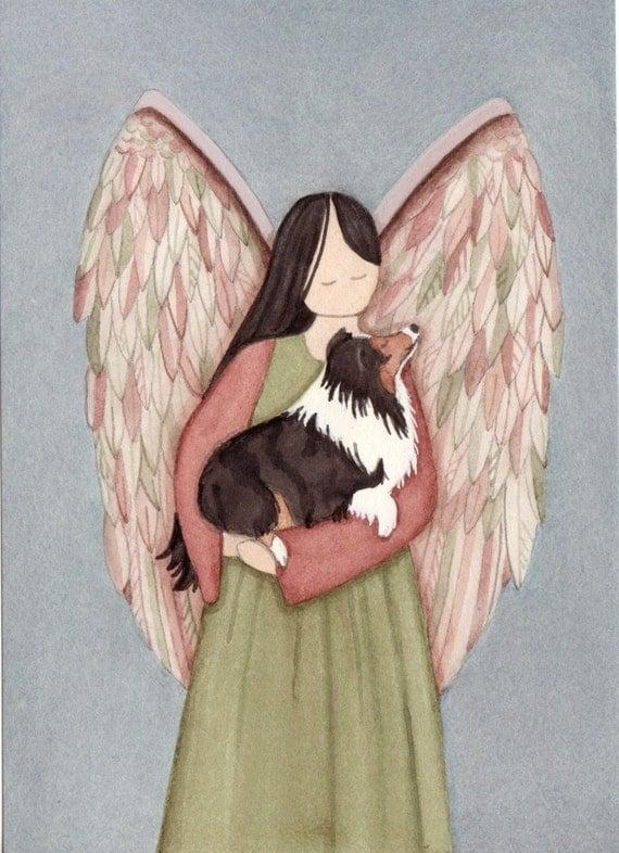 Tri-color sheltie in angel's arms / Lynch signed folk art print