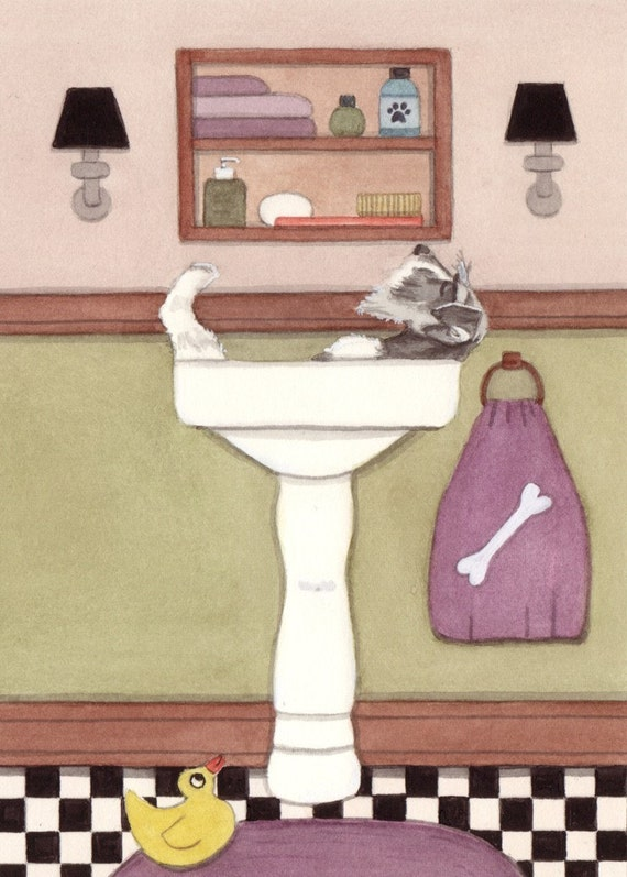 Schnauzer takes a relaxing bath in sink / Lynch signed folk art print
