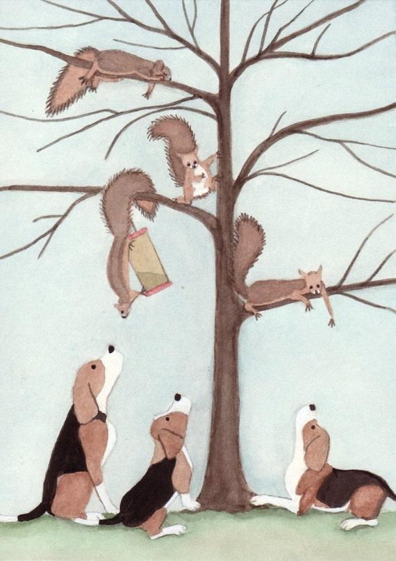 Beagles have tree full of squirrels cornered / Lynch signed folk art print