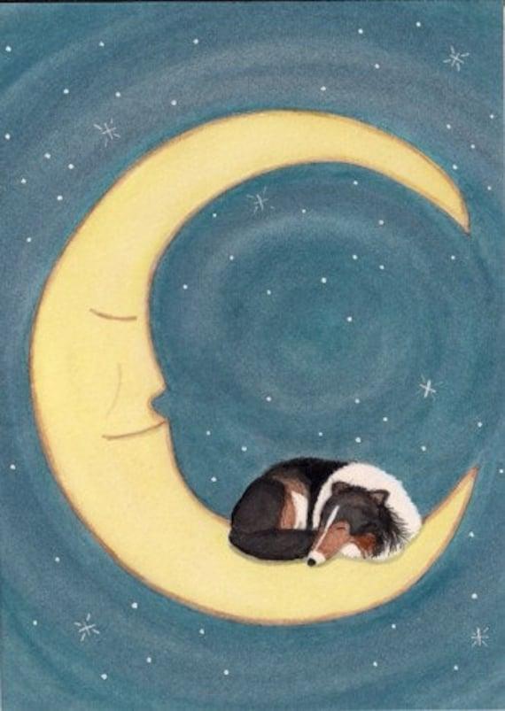 Tri-color shetland sheepdog (sheltie) sleeping on the moon / Lynch signed folk art print