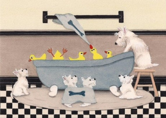 West highland terriers (westies) share tub with ducks at bath time / Lynch signed folk art print