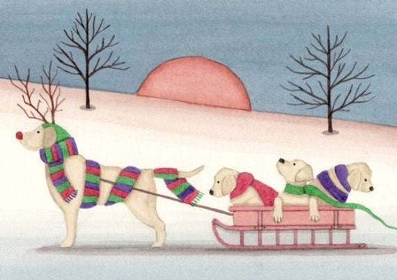 Christmas cards: Golden Labrador retriever (lab) family goes for sled ride / Lynch folk art