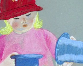 Childs Play original pastel painting at wholesale price shipped Free