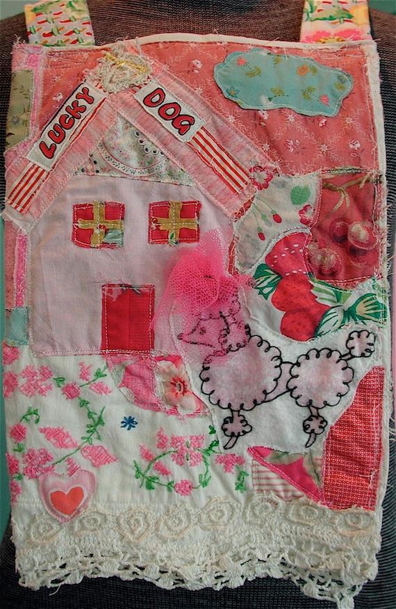 PINK POODLE: Sm Messenger BAG Lots Altered Vintage Linens