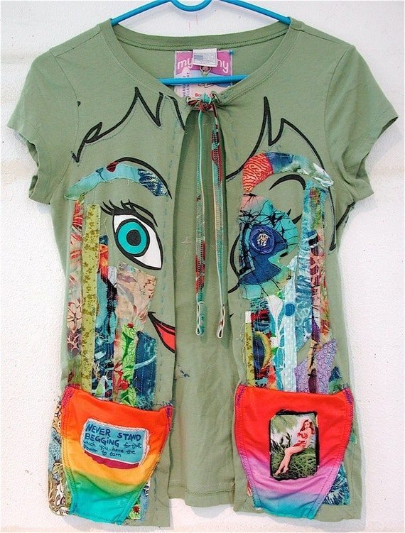 Tinker Bell FISH EYE: Upcycled Tshirt Wearable Art Sz S
