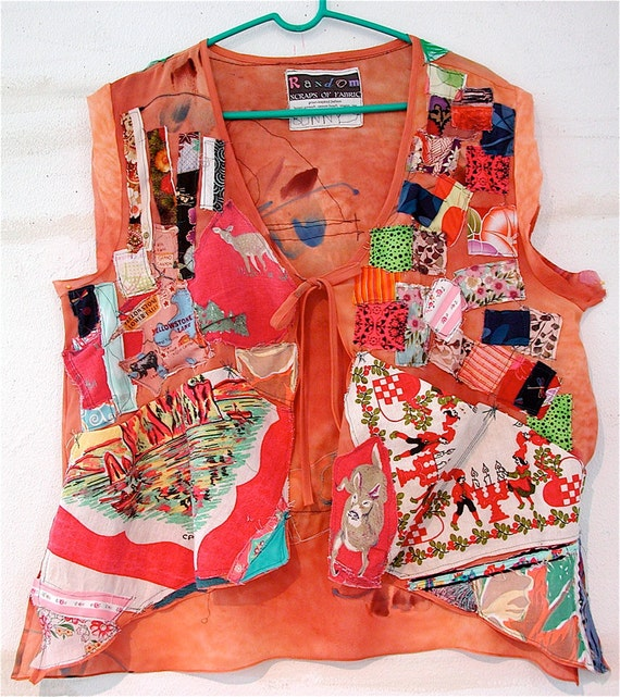 Terracotta Color Patchwork Couture --  Upcycled Wearable Art TOP --myBonny