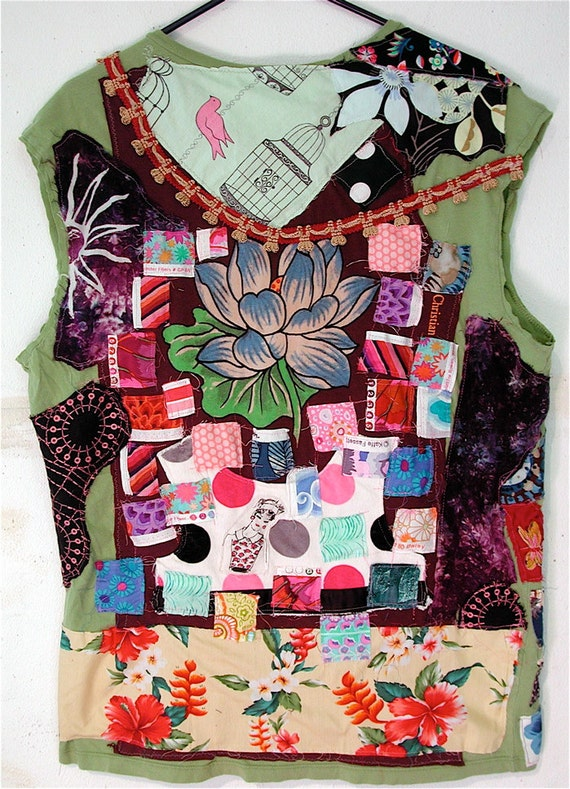 Lot of Patchwork Upcycled Wearable Collage FOLK Art Tshirt TUNIC