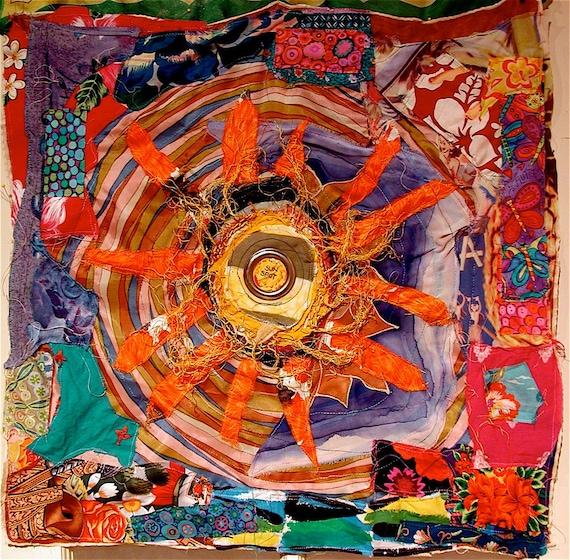 SUNNY & BRIGHT  Lots of Fabrics Art Quilt Assemblage