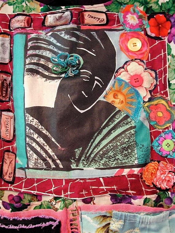 merlot Wine & Roses Wearable Art Tunic - mybonny random scraps of fabric Collage Clothing