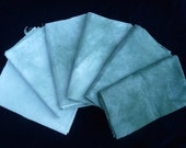 Fat Quarter bundle, 6 hand dyed, dark green