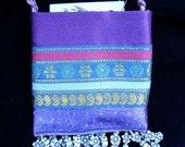 Mini Purse, Purple/Blue, Funky Flower Fringe